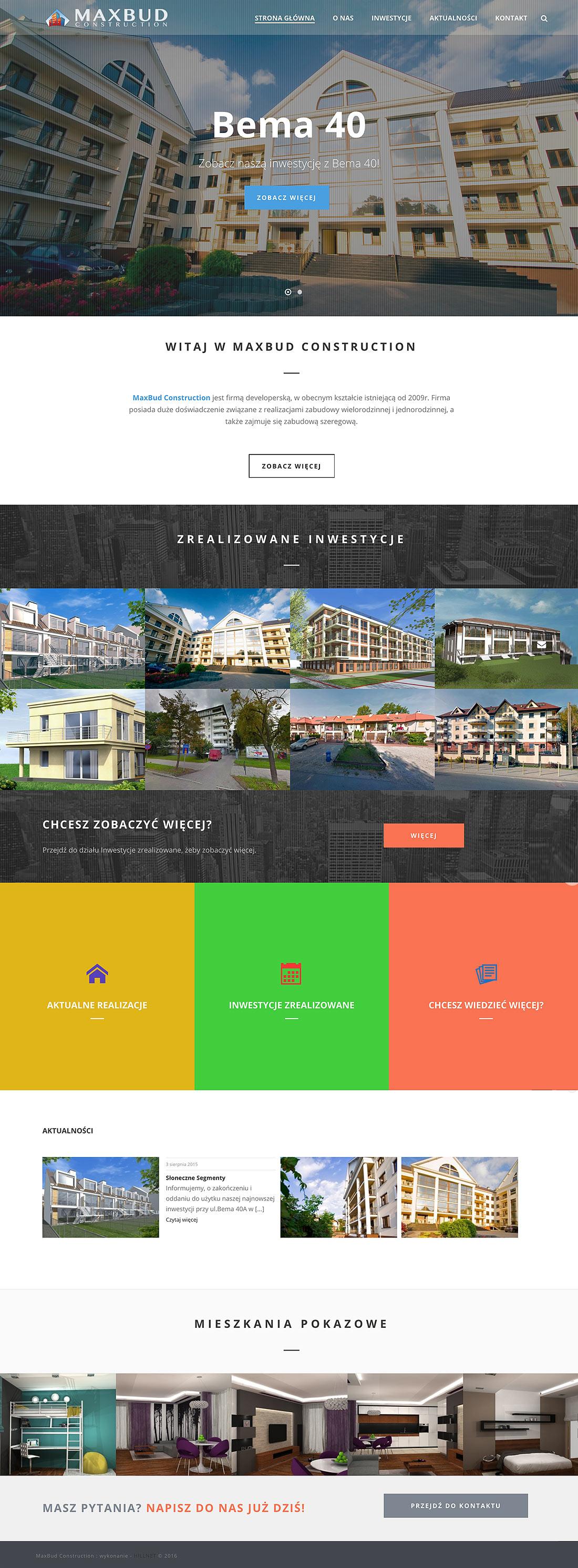 Maxbud Construction Projekt strony internetowej
