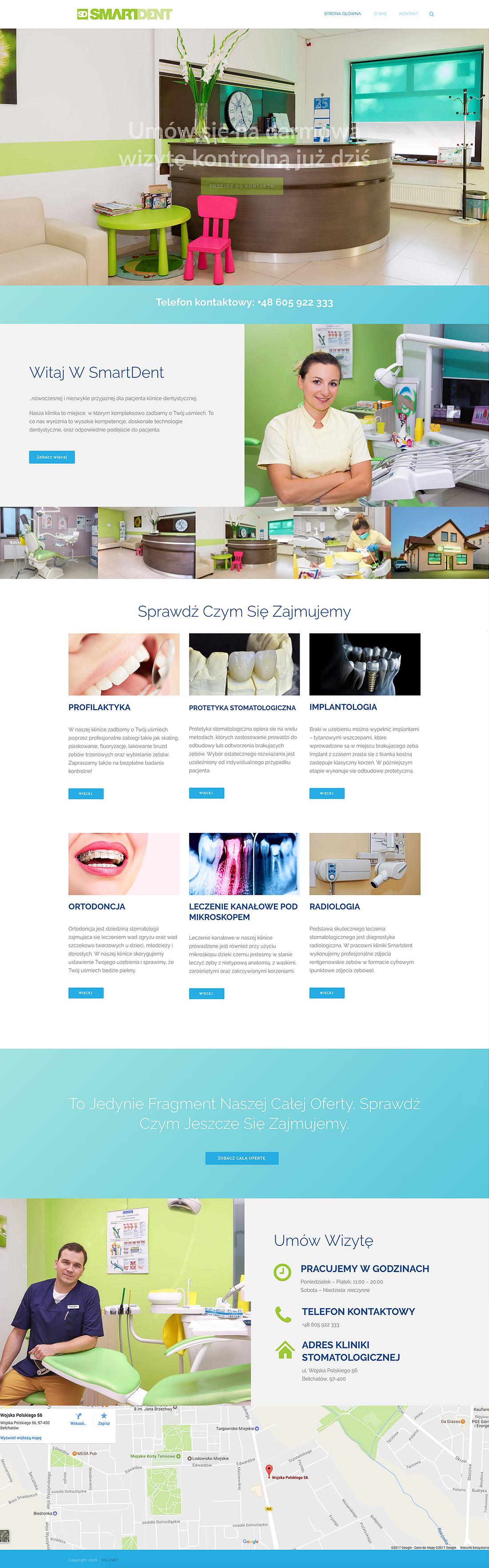 Smartdent - projekt strony dla kliniki dentystycznej