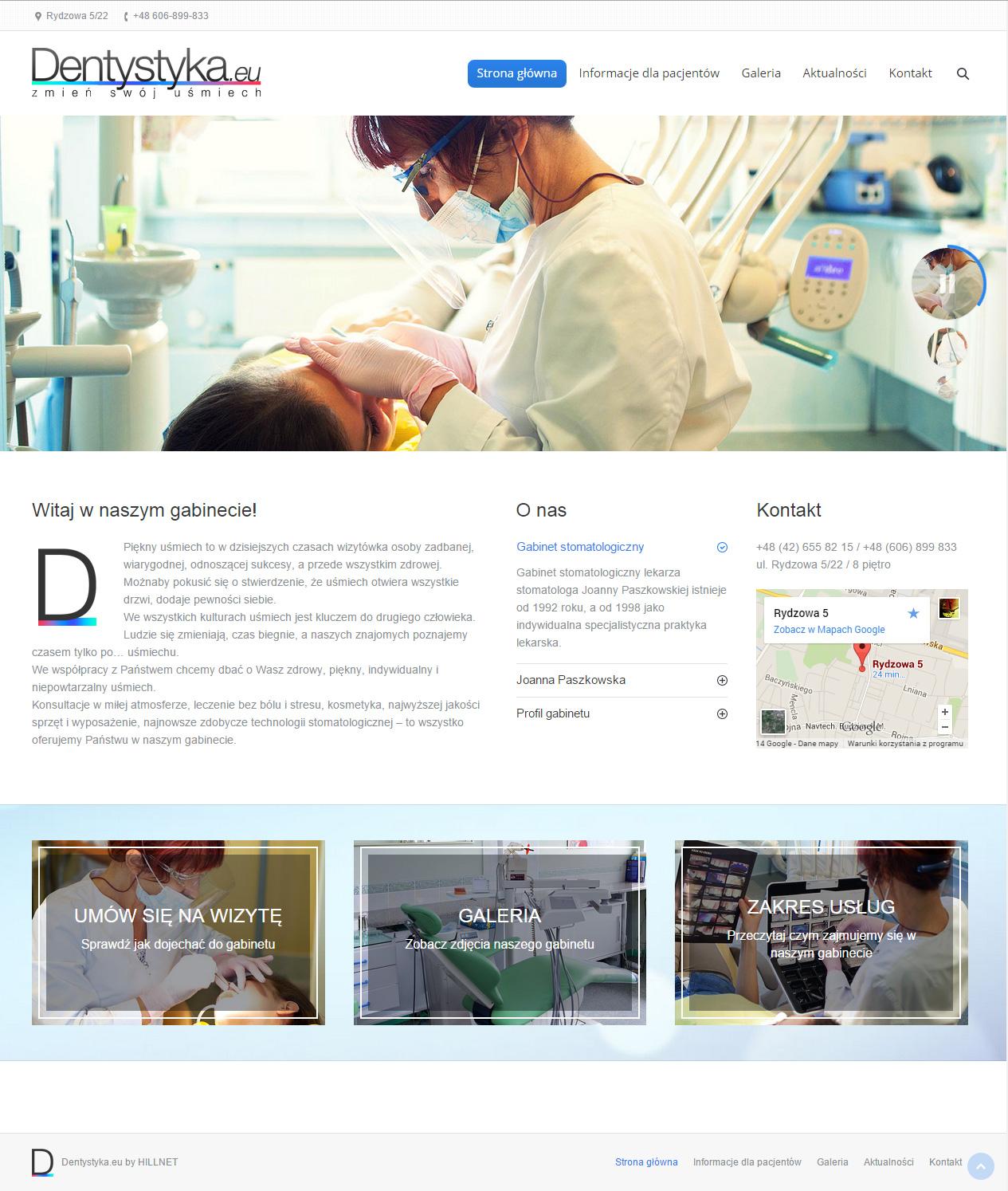 Projekt strony internetowej Dentystyka
