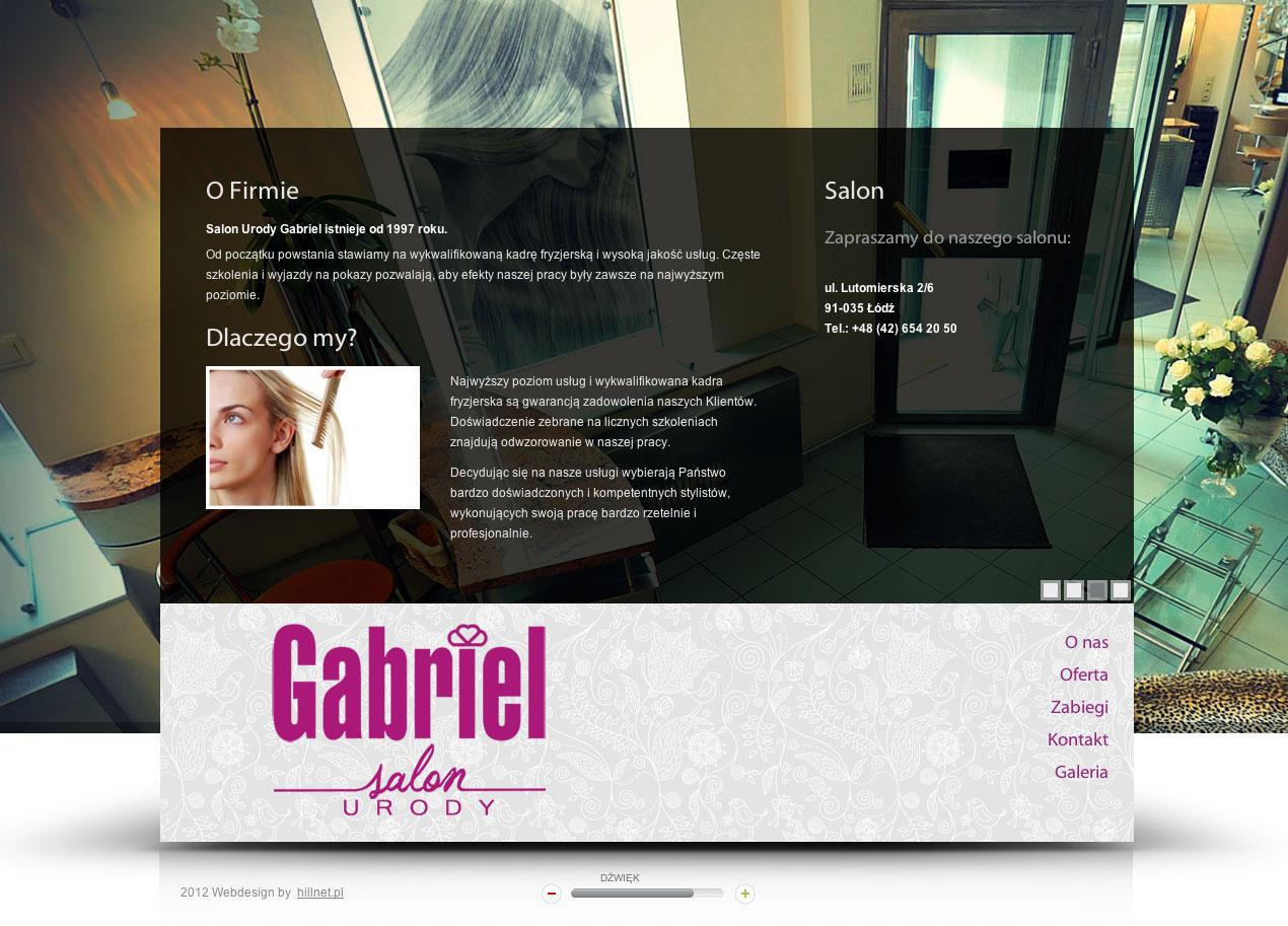 Gabriel - salon urody - projekt strony internetowej