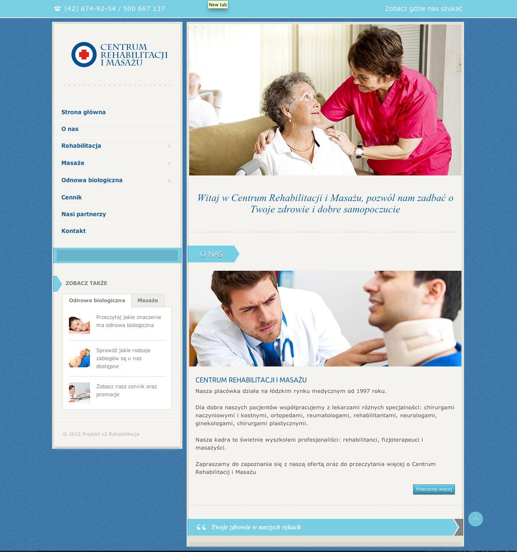 Centrum Rehabilitacji i Masażu - projekt strony