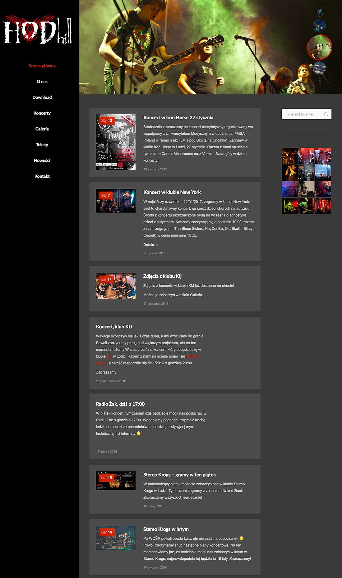 Hodhill - projekt strony dla zespołu rockowego z Łodzi